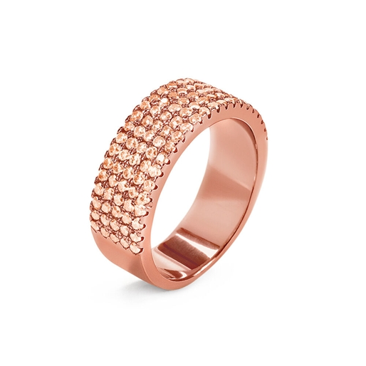 Fashionably Silver Essentials Rose Gold Plated Band Ring-