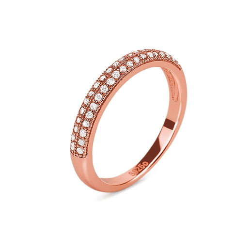 Fashionably Silver Essentials Silver 925 Rose Gold Plated Band Ring-