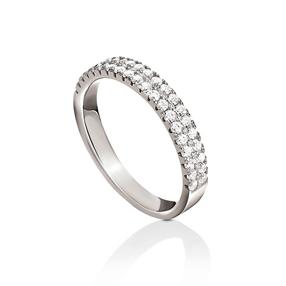 Fashionably Silver Essentials Rhodium Plated Λεπτό Σιρέ Δαχτυλίδι-