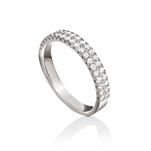 Fashionably Silver Essentials Rhodium Plated Two Rows Band Ring-