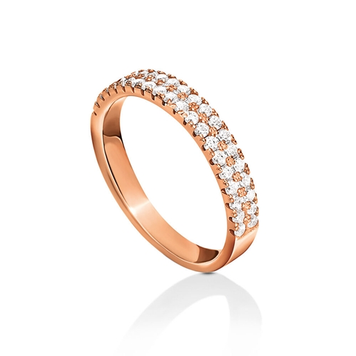 Fashionably Silver Essentials Rose Gold Plated Two Rows Band Ring-