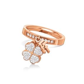 Heart4Heart Rose Gold Plated Κρυστάλλινες Πέτρες Κρεμαστό Λογότυπο Δαχτυλίδι-