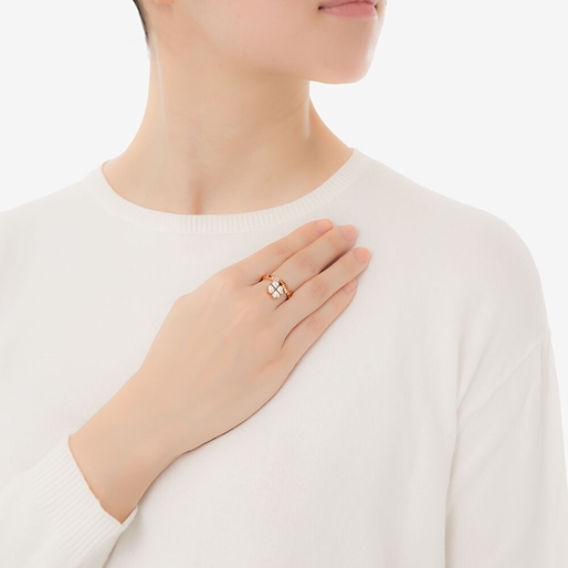 Heart4Heart Rose Gold Plated Charms Stone Ring-