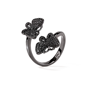 Wonderfly Black Flash Plated Ring-