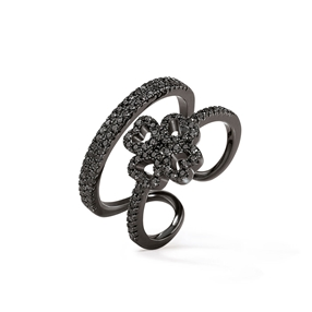 Miss Heart4Heart Black Flash Plated Double Ring-