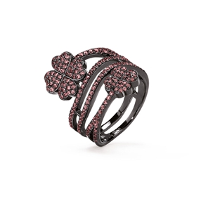 Heart4Heart Black Flash Plated Ring-