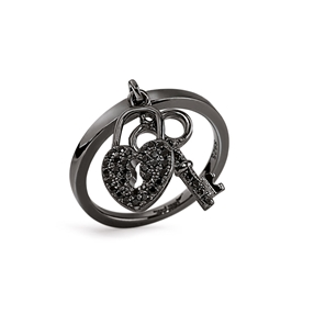 Charm Mates Black Flash Plated Ring-