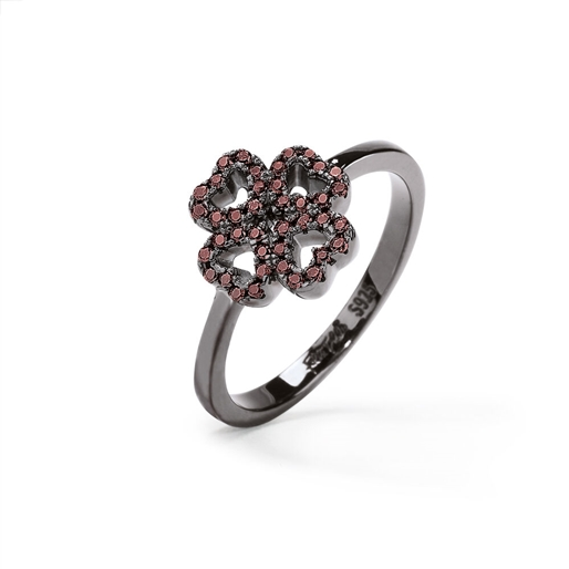 Miss Heart4Heart Black Flash Plated Chevalier Ring-