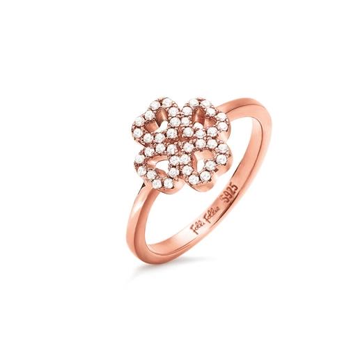 Miss Heart4Heart Rose Gold Plated Chevalier Δαχτυλίδι-