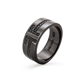 My FF Black Flash Plated Φαρδύ Δαχτυλίδι-