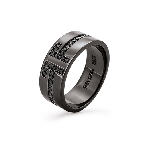 My FF Black Flash Plated Wide Band Ring-