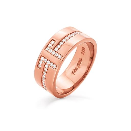 My FF Rose Gold Plated Φαρδύ Δαχτυλίδι-