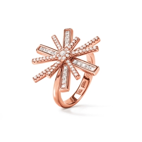 Star Flower Rose Gold Plated Ring-