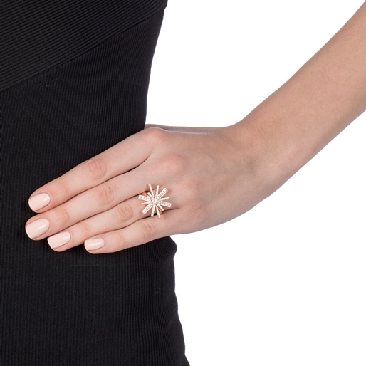 Star Flower Rose Gold Plated Ring-
