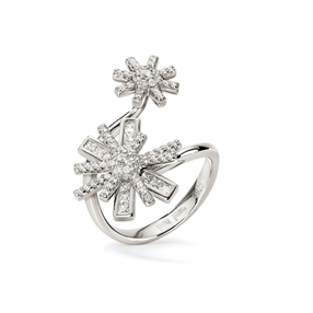 Star Flower Silver 925 Double Motif Ring-