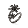 Star Flower Black Flash Plated Double Motif Ring