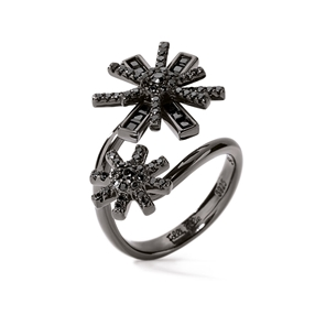 Star Flower Black Rhodium Plated Double Motif Ring-