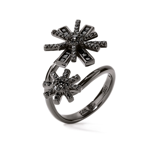 Star Flower Black Flash Plated Double Motif Ring-