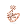 Star Flower Rose Gold Plated Double Motif Ring