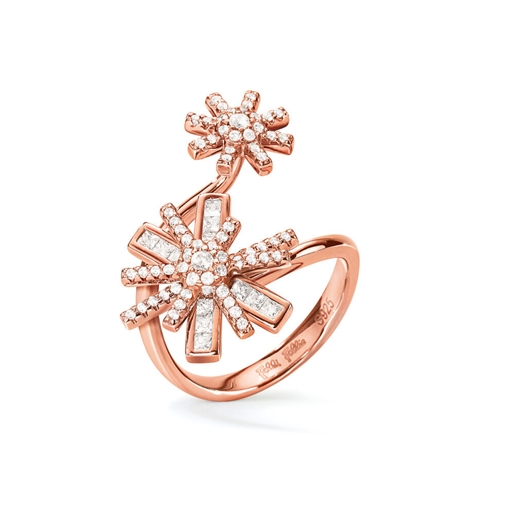 Star Flower Rose Gold Plated Double Motif Ring-