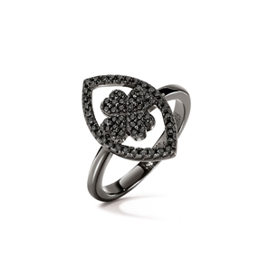 Heart4Heart Mati Black Flash Plated Ring-