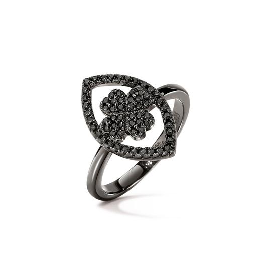 Heart4Heart Mati Black Flash Plated Ring-