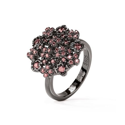 FF Bouquet Silver 925 Black Plated Small Ring -