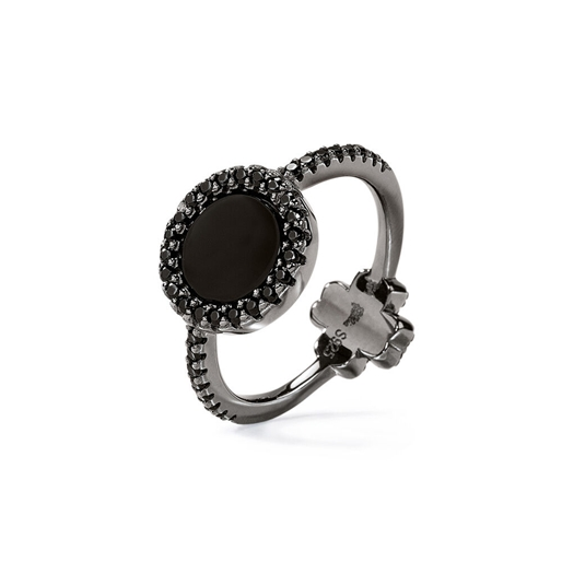 Heart4Heart Mirrors Silver 925 Black Plated Δύο Όψεων Δαχτυλίδι-