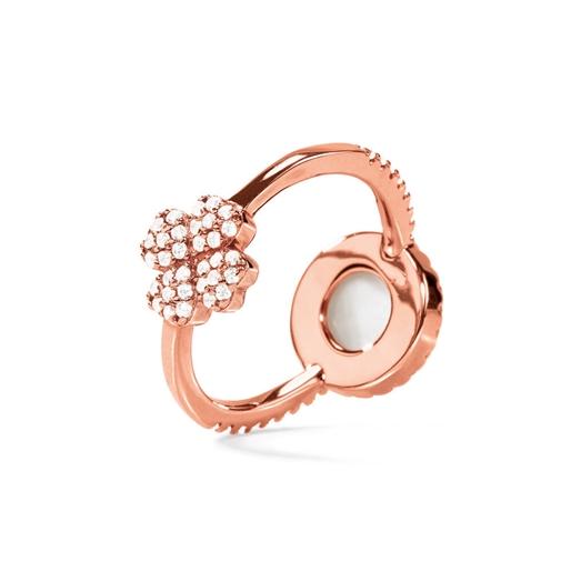 Heart4Heart Mirrors Silver 925 Rose Gold Plated Δύο Όψεων Δαχτυλίδι-