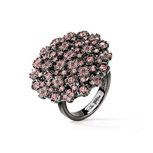 FF Bouquet Silver 925 Black Plated Medium Ring -