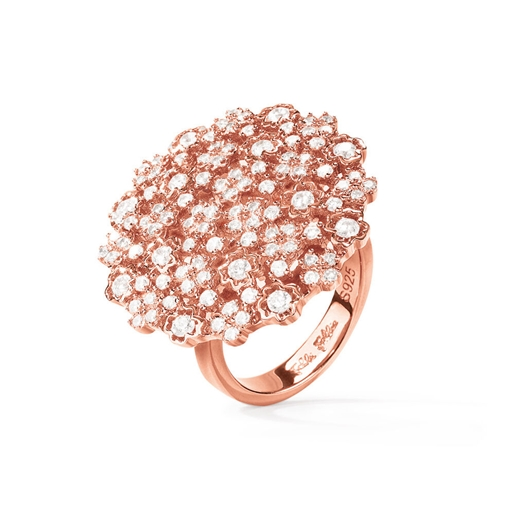 FF Bouquet Silver 925 Rose Gold Plated Medium Ring -