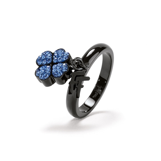 Heart4Heart Black Plated Charm Ring -