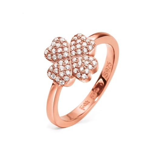 Heart4Heart Silver 925 Rose Gold Plated Ring-