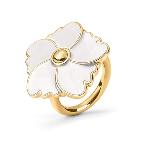 Bloom Bliss Yellow Gold Plated Μεσαίο Motif Δαχτυλίδι-