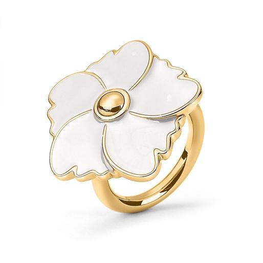 Bloom Bliss Yellow Gold Plated Medium Motif Ring -