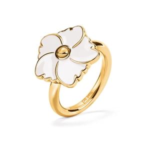 Bloom Bliss Yellow Gold Plated Μικρό Motif Δαχτυλίδι-