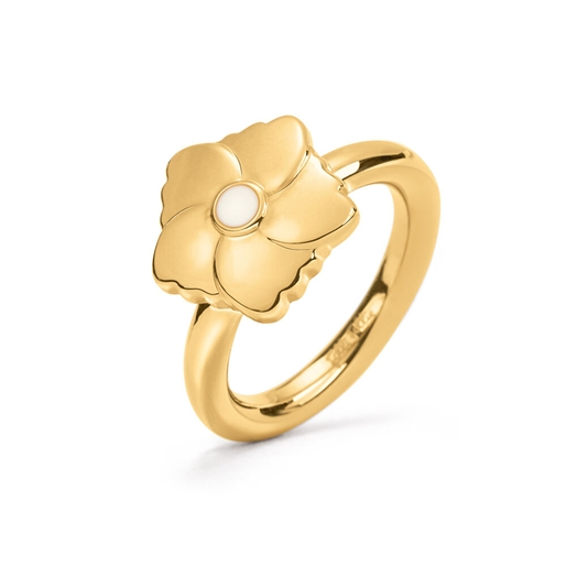 Bloom Bliss Yellow Gold Plated Mini Motif Ring -