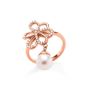 Flower Power 18k Rose Gold Plated Brass Δαχτυλίδι-