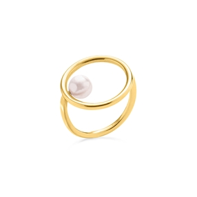 Link Up Silver 925 18k Yellow Gold Plated Μικρό Δαχτυλίδι-