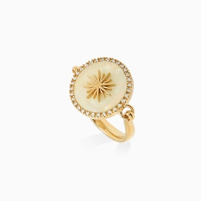 Celestial Glow silver 925° ring with 18K yellow gold plating, sun motif with ivory iridescent acrylic and clear cz stones-