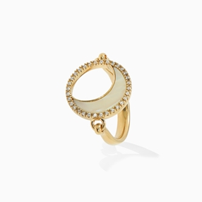 Celestial Glow silver 925° ring with 18K yellow gold plating, moon motif with ivory iridescent acrylic and clear cz stones-