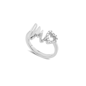 My Heart Beat silver 925° ring with medium heartbeat motif & small heart motif with cz stones-