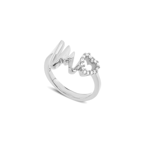 My Heart Beat silver 925° ring with medium heartbeat motif & small heart motif with cz stones -