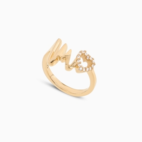 My Heart Beat 1micron 18K yellow gold plated silver 925° ring with medium heartbeat motif & small heart motif with cz stones-