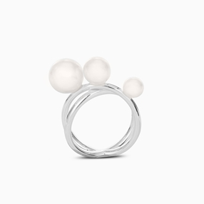The Pearl Effect silver plated brass double ring with white shell coated The Pearl Effect-