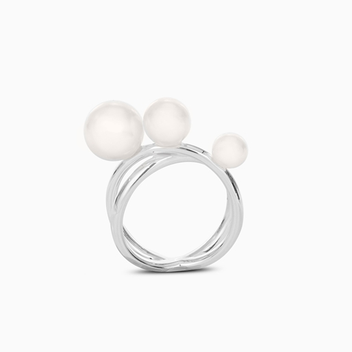 The Pearl Effect silver plated brass double ring with white shell coated The Pearl Effect -