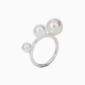 The Pearl Effect δαχτυλίδι από επαργυρωμένο ορείχαλκο και πέρλες με επικάλυψη λευκής πούδρας-