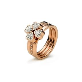 Heart4Heart Rose Gold Plated Σετ Τριών Δαχτυλιδιών-