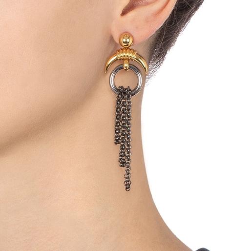 Desert Vibes Line Silver 925 Gun Plated Long Earrings-