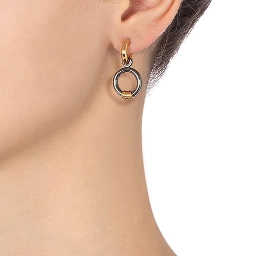 Desert Vibes Line Silver 925 Gun Plated Short Earrings-